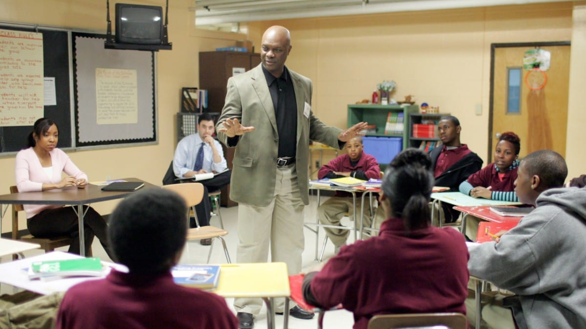"Bunny Colvin talking to his class of ""corner kids"""