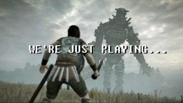We're Just Playing title font, with an image of a warrior fighting a Colossi in Shadow of the Colossus