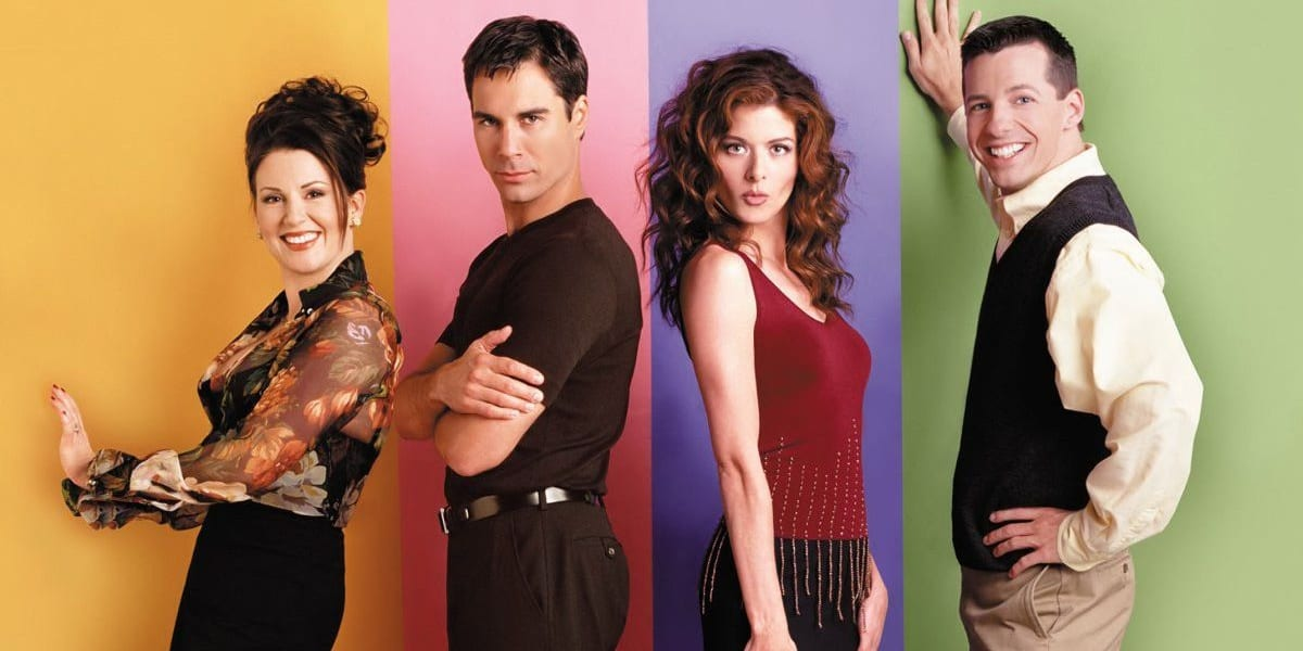 Promo photo of the Will and Grace cast, Will looking serious, Grace looking flirty, Jack with a big smile and Karen holding out a hand and smiling as well
