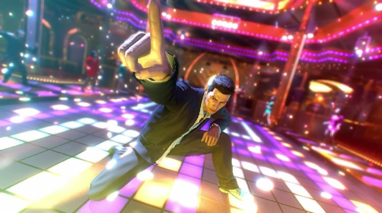 Kazuma Kiryu strikes a pose on a disco dance floor.