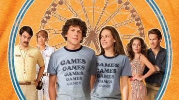 The characters in Adventureland standing against a fence