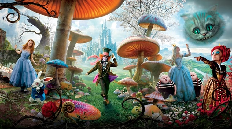 The main characters of Alice in Wonderland in a mushroom-filled field