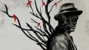 Promotional image for The Apostle: painting of a silhouetted man with a cross over his eye and tree limbs growing out of his back. Small red human figures are pierced on the tree limbs.