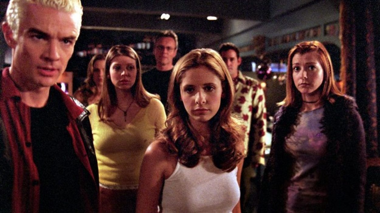 Buffy and friends stare dramatically