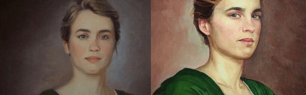 Marianne's first portrait of Heloise (left) versus Marianne's second portrait of Heloise (right)
