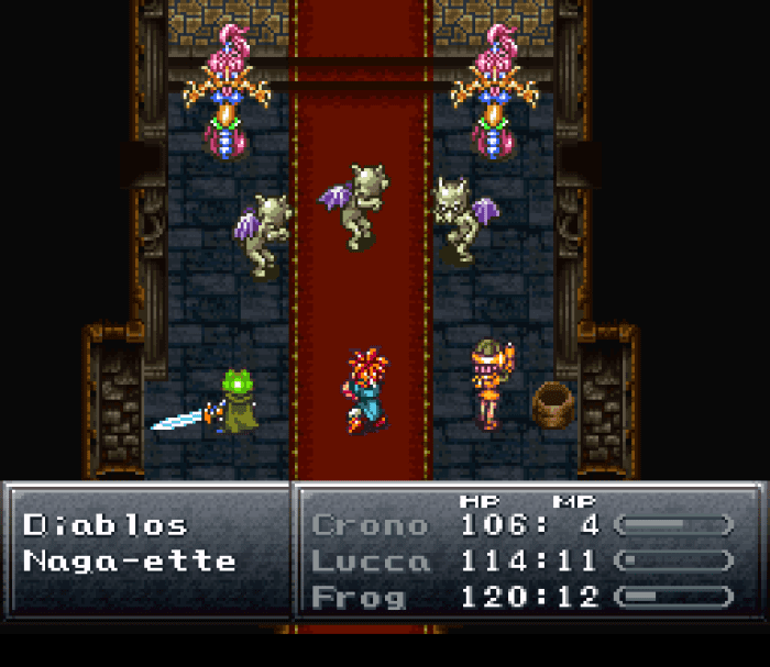 Chrono, Frog, and Lucca fight some monsters in a building.