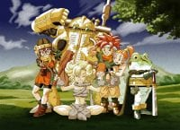 The core party members of Crono Trigger pose for a group photo. This includes Lucca, Crono, Marle, Frog, Ayla, and Robo.