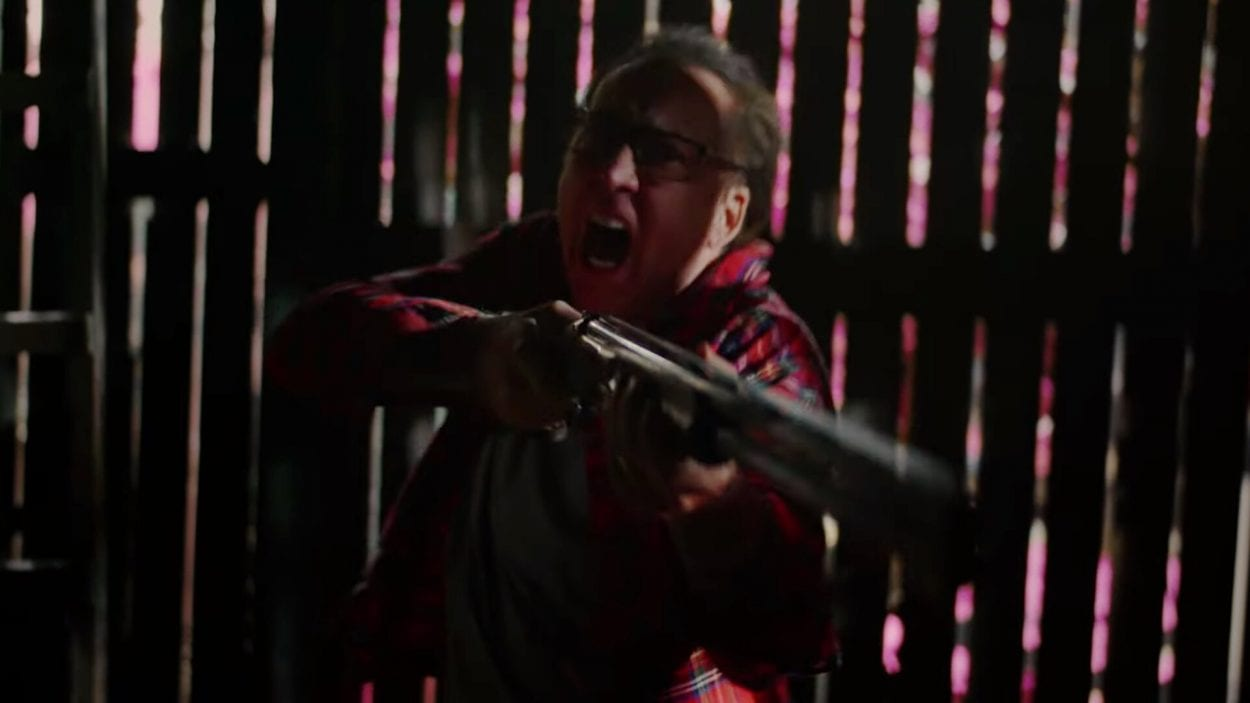 Nic Cage yells while holding a shotgun in Color Out of Space