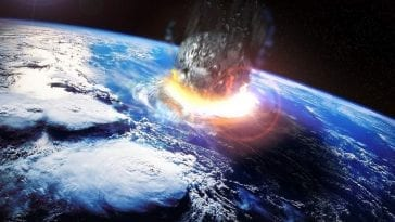 View from space of an asteroid impacting Earth