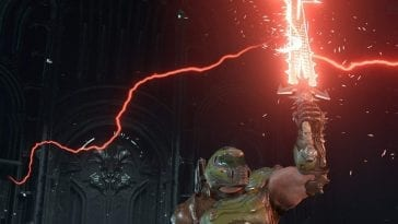 Doomguy holds an awesome red energy sword known as the Crucible in the air.