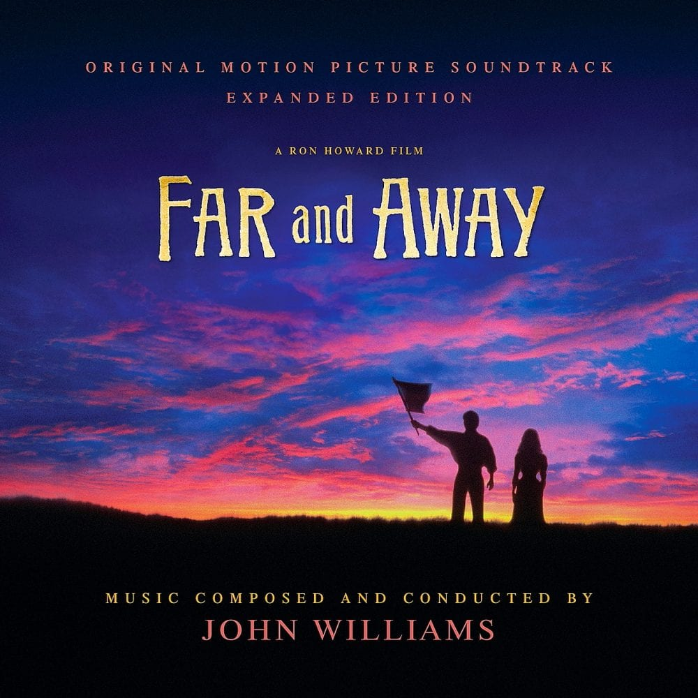 Figures look off into a sunset on the cover of the Far and Away soundtrack