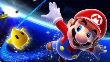 Mario soars through the galaxy with arms outspread and followed by a Luma.