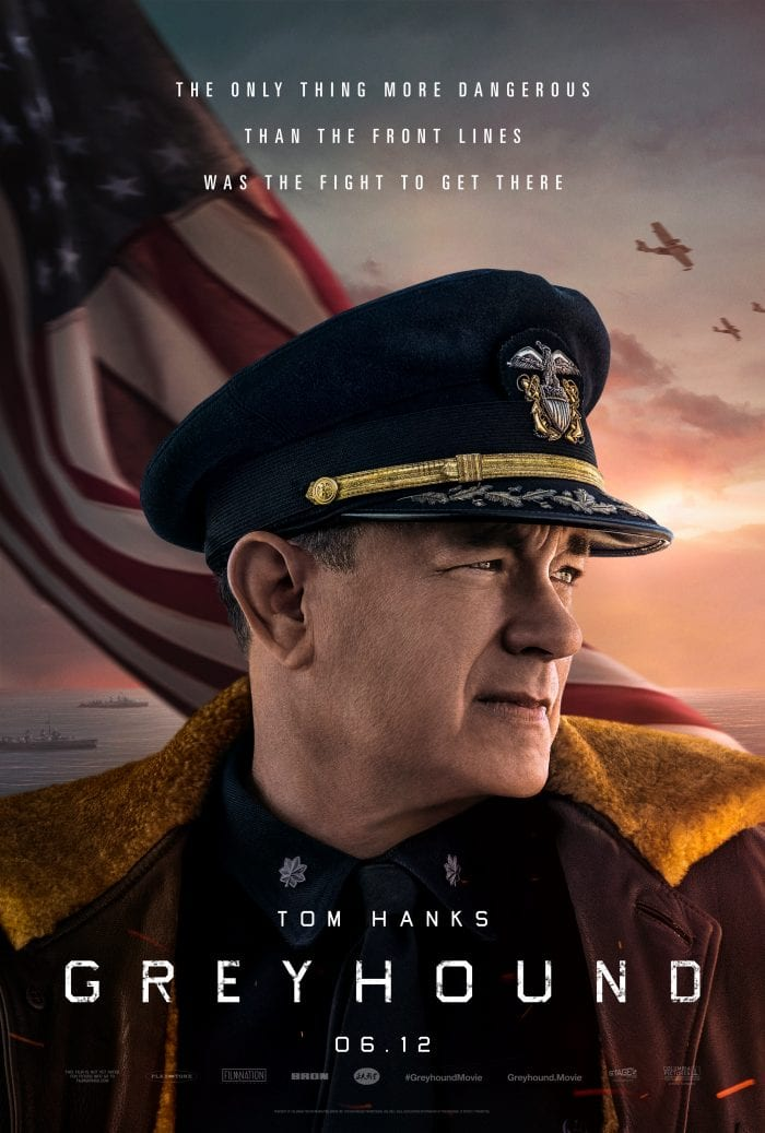 Tom Hanks in uniform on the poster for Greyhound