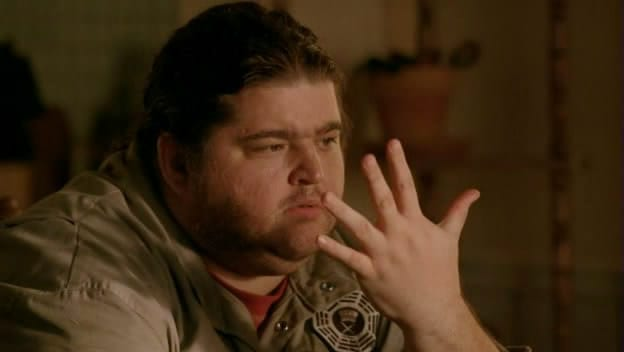 "Hurley looks at his hand in Lost ""Whatever Happened, Happened"""