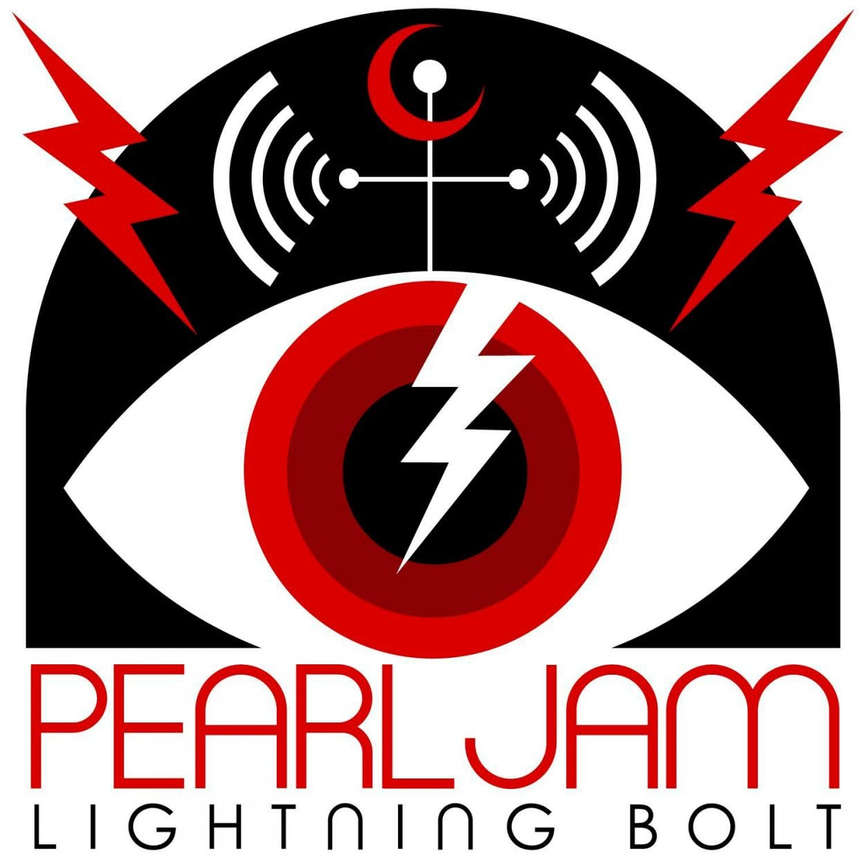 Art deco stylings of an eyeball with a red iris, and a white lightning bolt Image on it. An antenna is above it, appearing to broadcast signals from it.
