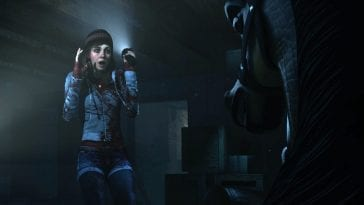 Ashley, one of the characters from Until Dawn, shrieks in surprise at a rocking horse.