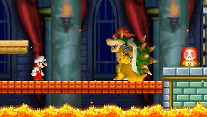 Fire Mario confronts Bowser on a bridge above lava. There's a switch behind Bowser that destroys the bridge.