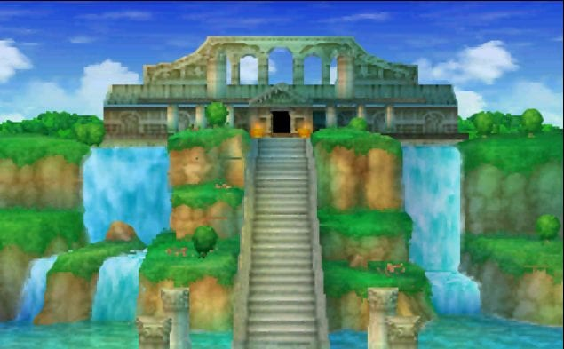 Alltrades Abbey, a large temple, stands at the top of a large stairway, flanked by waterfalls on either side.