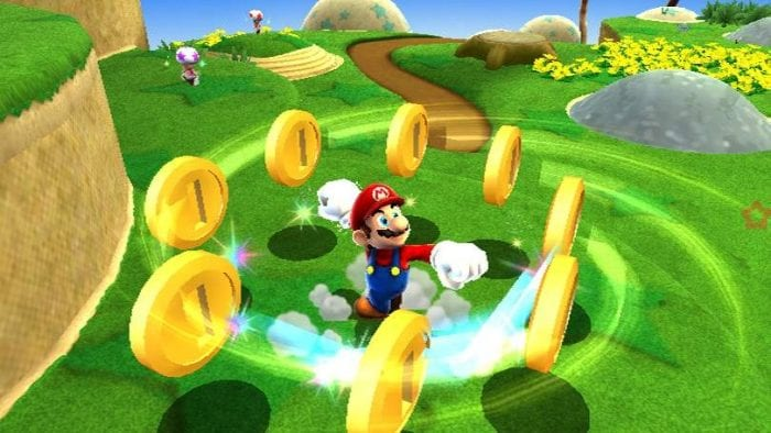 mario doing his signature spin move in a circle of coins