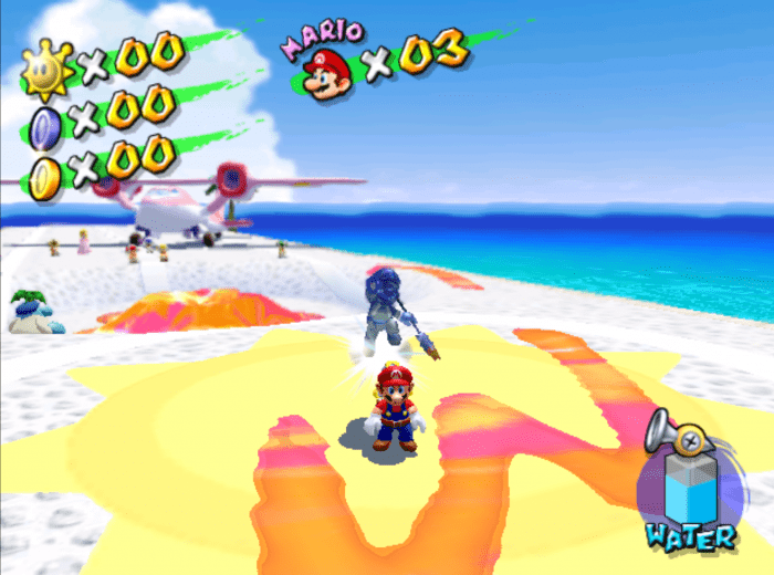 Mario stands in the opening air strip level pursued by the dark blue Shadow Mario. He stands over a huge, graffitied M.