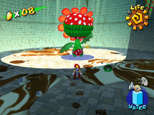Mario is in the bottom of a windmill confronting the hulking Petey Piranha, a large Piranha plant with leafy arms and polka dot boxers.