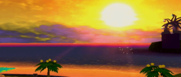 Sunset on Sirena Beach. The entire area is bathed in a gorgeous, deep orange, showcasing the graphical power of the Nintendo Gamecube