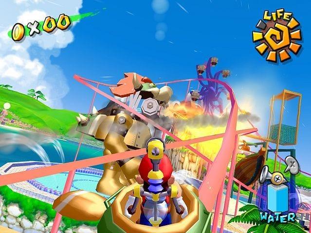 Mario rides a roller coaster while Mecha- Bowser breathes fire over Pinna Park.