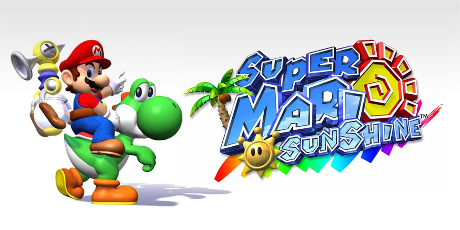 Mario rides Yoshi, pointing into the air. The Super Mario Sunshine logo sits to their right.