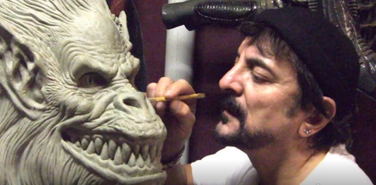 Tom Savini working on Creature Feature effects