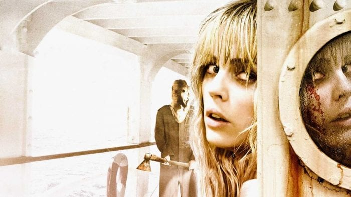 Jess hiding behind a corner of a ship with a menacing figure behind her with an axe