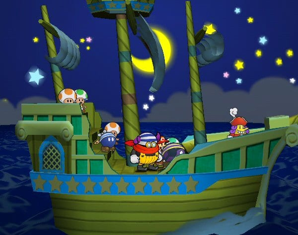 Mario sails with a crew on a boat. The night sky twinkles in the background.