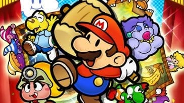 Mario wields a hammer and is flanked on either side by the game's colorful cast