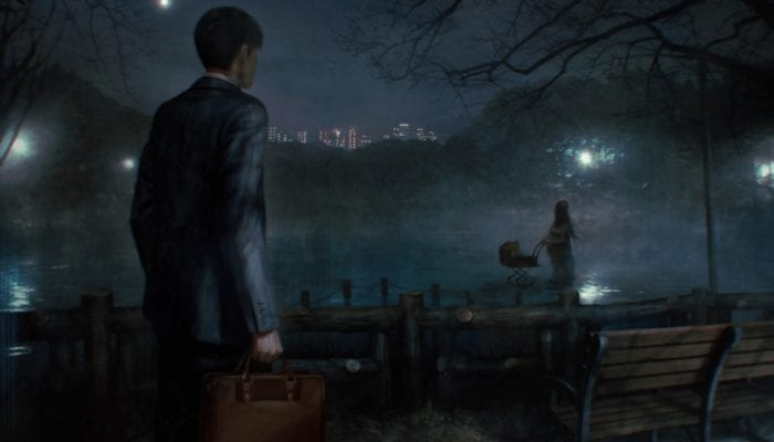 A man with a briefcase sees ghost woman with a carriage by the pier.