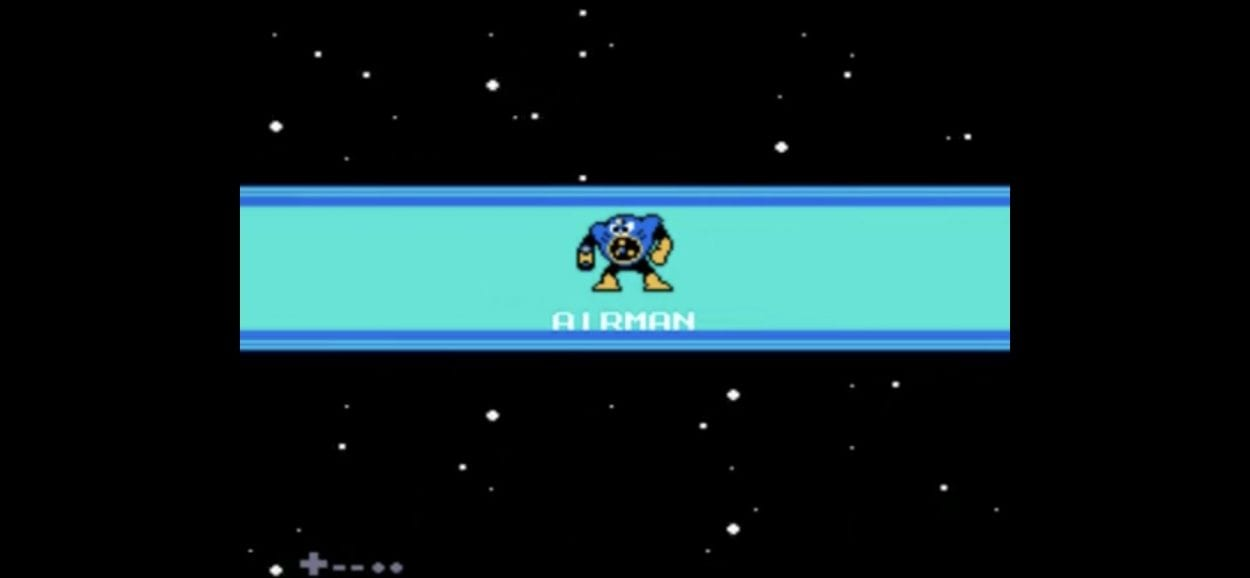In front of a star field is a blue bar with a round blue and yellow robot with a fan where its mouth should be.