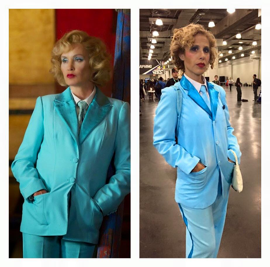 Side-by-side pics of Elsa Mars and Cat Smith's cosplay of the same David Bowie-inspired outfit