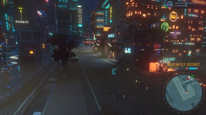 A screenshot of Cloudpunk showing Rania walking through a rainy city