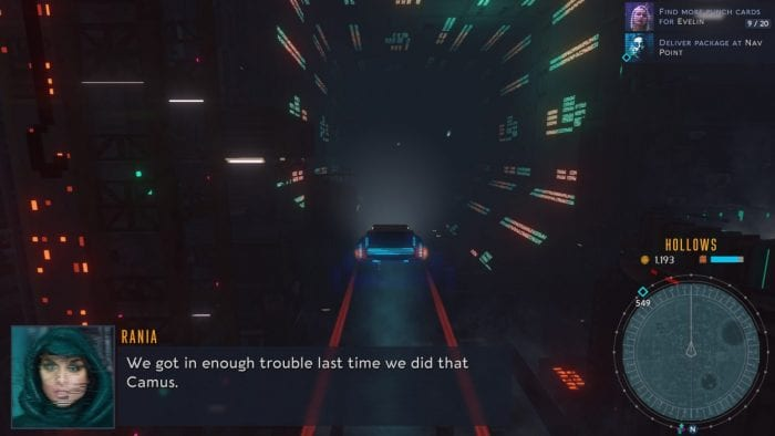 """Rania driving through the hollows in Cloudpunk. Text reads """"We got in trouble last time we did that Camus"""""""