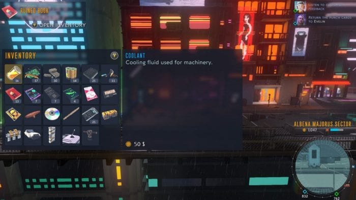 Your inventory screen in Cloudpunk, featuring a high number of miscellaneous items
