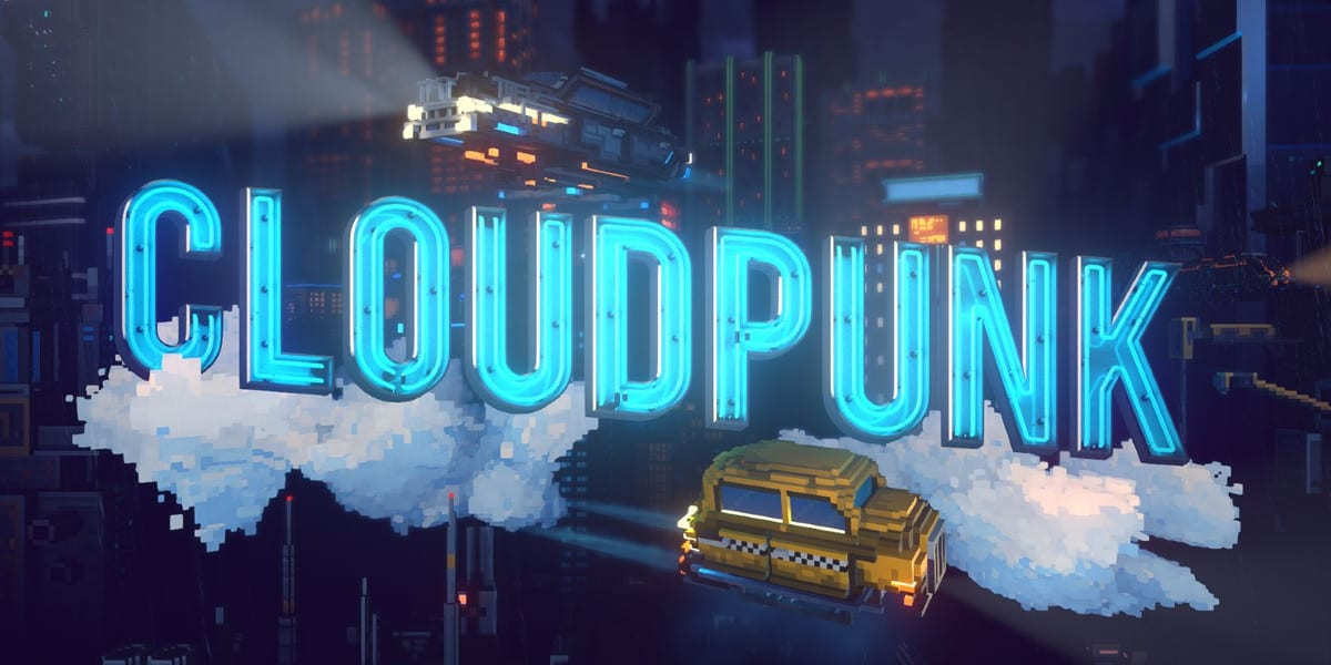 Cloudpunk's title screen, featuring a flying taxi and a HOVA