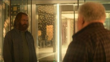 Forest and Stewart chatting in the Devs golden hallways