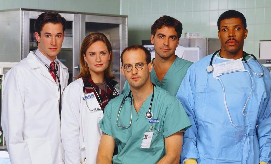 The cast of ER facing the camera