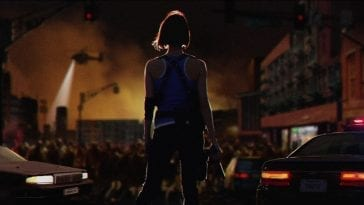 Jill Valentine surveys Raccoon City in shambles. Concept art unlocked through in game progress.