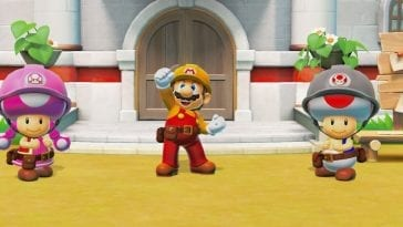 Mario and the Toads celebrate rebuilding Peach's castle.