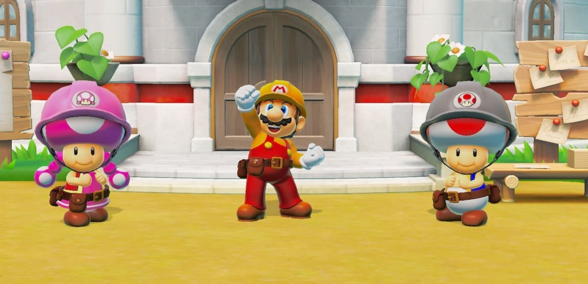 Mario and the Toads celebrate rebuilding Peach's castle.