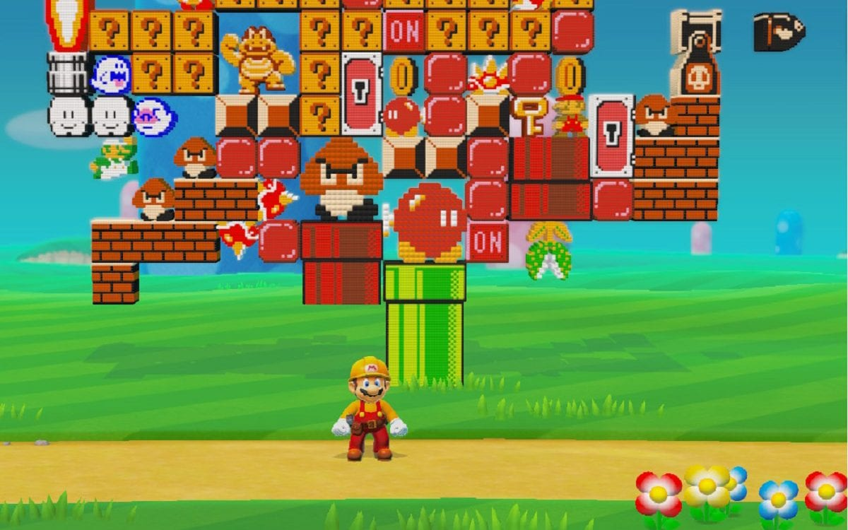 Mario stands in front of the pixel art statue from Story Mode.