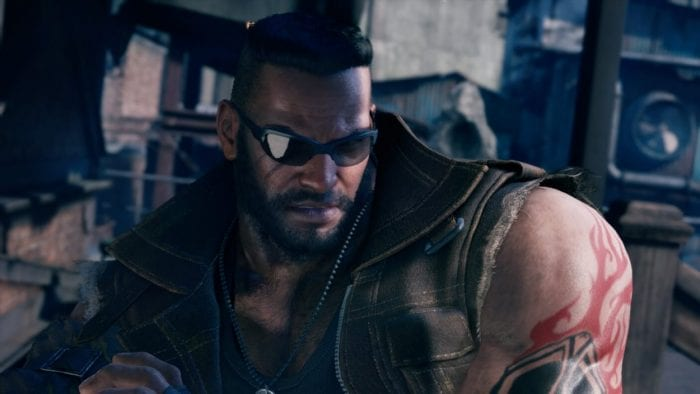 A close up of Barrett in Final Fantasy VII Remake.
