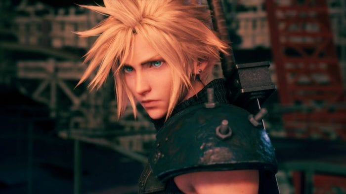 A close up of Cloud in Final Fantasy VII Remake.