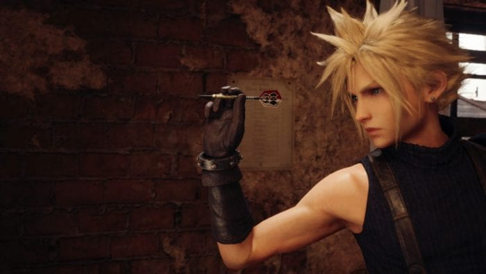 Cloud plays darts in Tifa's bar.