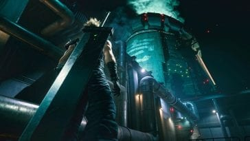 Cloud stands before the reactor in Final Fantasy VII Remake