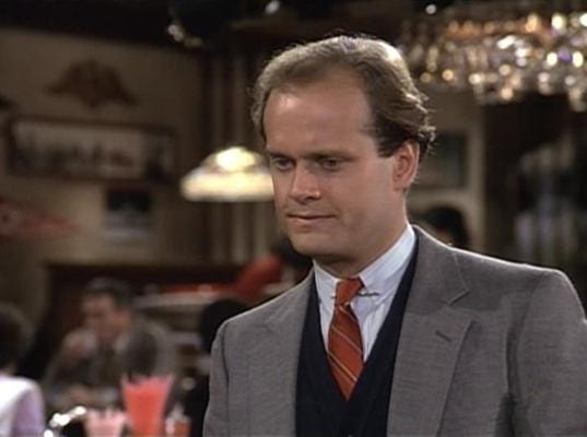 Frasier made his first appearance on Cheers trying to help Sam stop drinking again